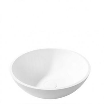 Lavabo bagno moderno da appoggio in resina, lavandino design ovale sospeso Cipì di colore bianco misure 50x15 cm.
