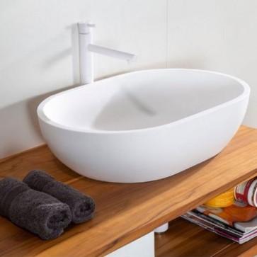 Lavabo bagno moderno da appoggio in Istone, lavandino design a vasca sospeso Cipì di colore bianc