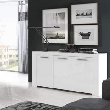 Credenza buffet bianca larga 144 cm. Mobile multiuso moderno con 3 ante, ideale in cucina e soggiorno.
