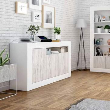 Credenza buffet bianca larga 144 cm. Mobile multiuso moderno con 3 ante bianco anticato