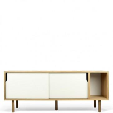 Credenza buffet moderna TemaHome. Mobile basso bianco in legno per cucina e sala da pranzo