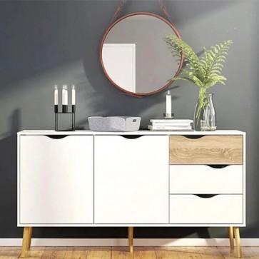 Credenza bianca moderna Tvilum con due ante e 3 cassetti. Mobile Tv con gambe in legno per cucina e sala da pranzo