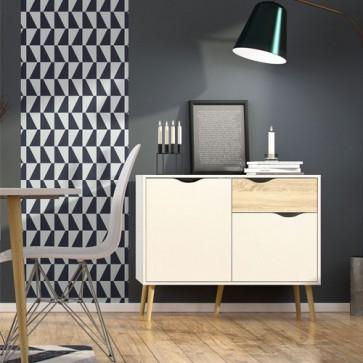 Credenza bianca nordica Tvilum con due ante e 1 cassetto. Mobile Tv moderno con gambe in legno per cucina e sala da pranzo