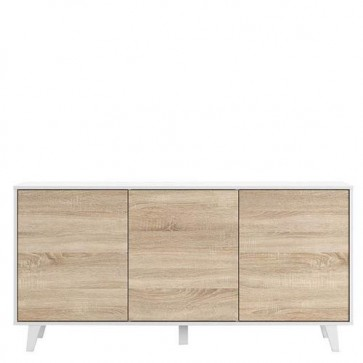 Credenza buffet moderna Fores con 3 ante. Mobili credenze basse moderne bianche in legno ideale in cucina e sala da pranz