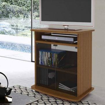 Mobile televisore noce con 2 ante in vetro. Carrello porta Tv e Pc con ruote e mensole, misure 73x62x40 cm.