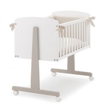 Lettino culla Erbesi per neonato, culletta bambini in legno bianco