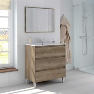 Mobile bagno moderno Dakota con tre cassettoni in rovere. Mobili bagno Fores in legno completo di specchio.