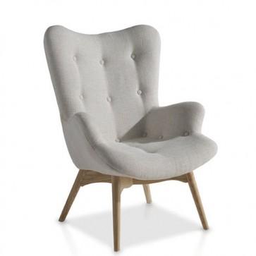 Poltrona frau sofa in legno di frassino con seduta e schienale imbottiti.