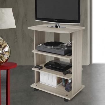Mobile porta Pc e stampante in legno olmo. Carrello mobiletto porta tv con ruote e mensole per camera da letto