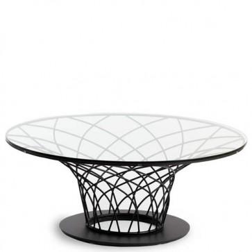 Tavolino salotto Angel Cerdà con piano in vetro temperato. Tavolini in acciaio per salone.