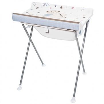 Bagnetto per neonato Primi sogni, con piano fasciatoio richiudibile. Fasciatoi camerette neonati richiudibili con vaschetta ergonomica e cuscinetto poggiatesta,