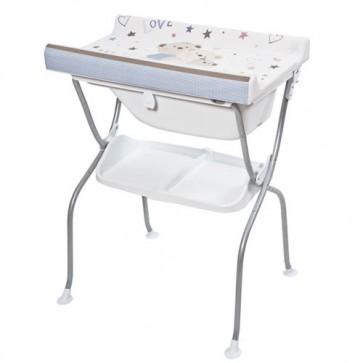 Bagnetto per neonato Primi sogni, con piano fasciatoio richiudibile. Fasciatoi camerette neonati richiudibili con vaschetta ergonomica e ripiano portaoggetti