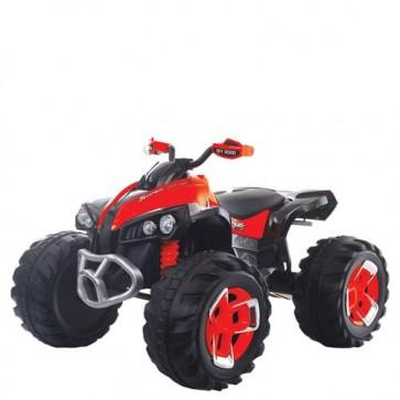 Quad elettrico per bambini rosso con batteria 12 volt e retromarcia, moto elettrica ricaricabile per bambino con luci e suoni MP3.