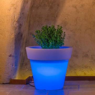Vaso luminoso rotondo da giardino in resina bianca per esterno. Vasi luminosi circolari da interno illuminati di luce blu, ideale per le piante del terrazzo.