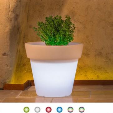 Vaso luminoso rotondo da giardino in resina bianca per esterno. Vasi luminosi circolari da interno illuminati di luce led multicolore RGB con telecomando, ideale per le piante del terrazzo.
