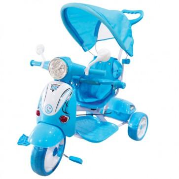 Vespa scooter blu per bambino con parasole e suoni. Triciclo passeggino a pedali per bambini con maniglione.