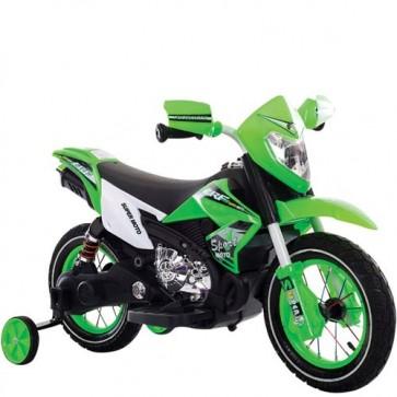 Moto elettrica 6 Volt per bambini con luci, suoni e retromarcia. Motocicletta elettrica enduro verde
