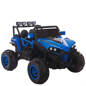 Macchina elettrica 12V due posti per bambini con telecomando. Fuoristrada elettrico SUV colore blu 2 posti per bimbo con radiocomando.