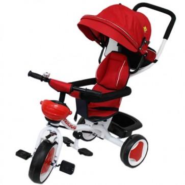 Triciclo in metallo rosso per bambino con cappottina e cestino portaoggetti. Tricicli passeggino a pedali per bambini con maniglione