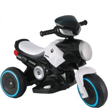 Motocicletta elettrica per bambini con batteria 6 volt, moto da corsa tre ruote bianca per bambino con musica e luci.