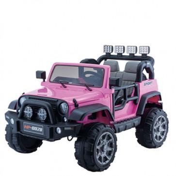 Auto elettrica due posti per bambine con batteria 12 volt e telecomando. Macchina SUV elettrico colore rosa 2 posti per bambina con retromarcia e sedili in ecopelle.