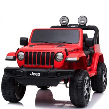Auto elettrica due posti per bambini con batteria 12 volt e telecomando. Fuoristrada Jeep Wrangler Rubicon elettrico colore rosso