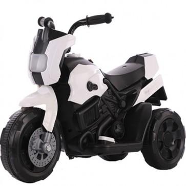 Motocicletta elettrica per bambini bianca con batteria 6 volt, moto da corsa tre ruote per bambino con musica e retromarcia.