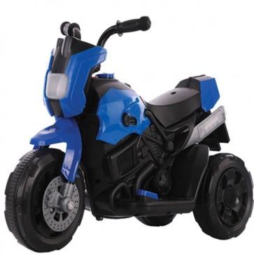 Motocicletta elettrica per bambini blu con batteria 6 volt, moto da corsa tre ruote per bambino con musica e retromarcia.