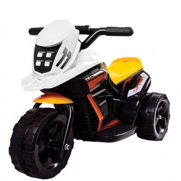 Motocicletta elettrica Racing bianca per bambino con batteria 6 volt, moto elettriche bimbo da corsa per bambini con retromarcia.