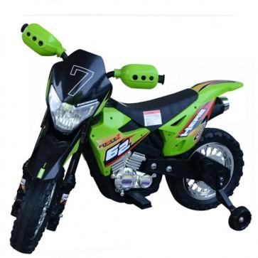 Motocicletta elettrica per bambini con batteria 6V, moto cross verde per bambino con luci e suoni.