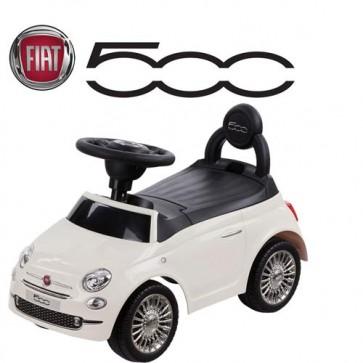 Macchina cavalcabile per bambini primi passi Fiat 500 bianca. Macchine a spinta per bambino con suoni al volante.