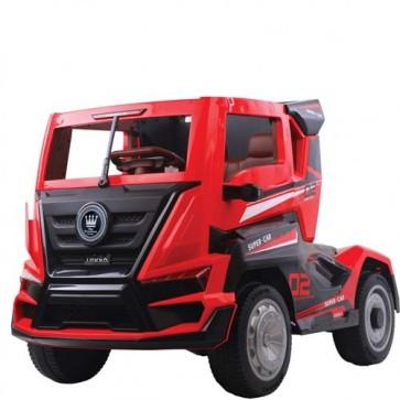 Camion elettrici per bambini RC con batteria 12 volt, telecomando e porte apribili. Truck camion elettrico rosso per bambino con rimorchio, radiocomando e bluetooth.