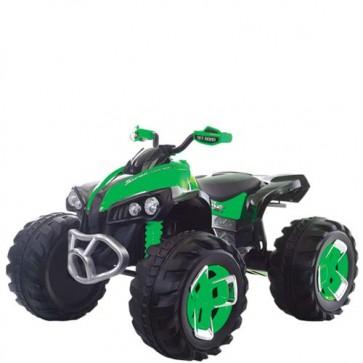 Quad elettrico per bambini verde con batteria 12 volt e retromarcia, moto elettrica ricaricabile per bambino con luci e musica MP3.
