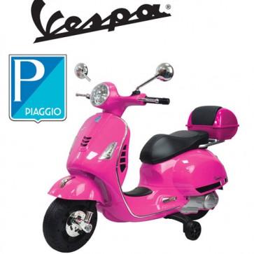 Vespa elettrica per bambine GTS Piaggio rosa con batteria 12 volt, scooter elettrico per bambina con rotelle e bauletto.