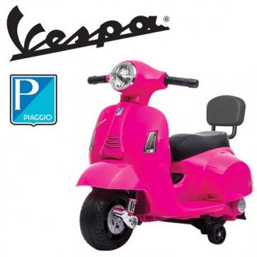 Vespa elettrica GTS Piaggio rosa per bambine con batteria 6 volt, vespetta bimba elettrico per bambina con rotelle e schienale.