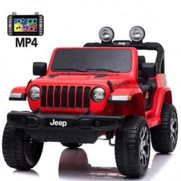 Auto elettrica due posti per bambini con batteria 12 volt, telecomando e monitor touch 6 pollici. Fuoristrada Jeep Wrangler Rubicon