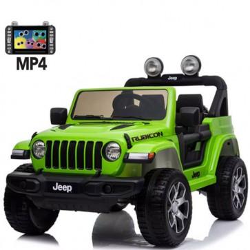 Auto elettrica due posti per bambini con batteria 12 volt, telecomando e radio. Fuoristrada Jeep Wrangler Rubicon elettrico colore verde 2 posti