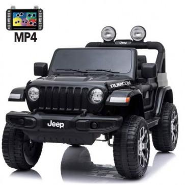 Auto elettrica due posti per bambini con batteria 12 volt, telecomando e schermo touch 6 pollici. Fuoristrada Jeep Wrangler Rubicon elettrico colore nero