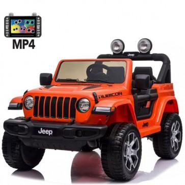 Auto elettrica due posti per bambini con batteria 12 volt, telecomando e schermo touch 6 pollici. Fuoristrada Jeep Wrangler Rubicon elettrico