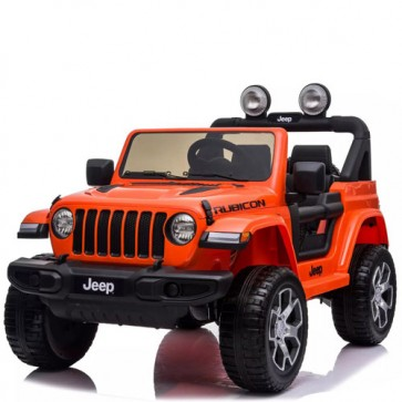 Auto elettrica due posti per bambini con batteria 12 volt, telecomando e radio. Fuoristrada Jeep Wrangler Rubicon elettrico colore arancione