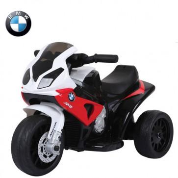 Motocicletta elettrica BMW S1000RR rossa per bambini con batteria 6 volt, moto da corsa tre ruote per bambino con musica e sedile in ecopelle.