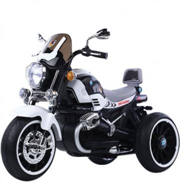 Moto elettrica tre ruote per bambini con retromarcia e bluetooth, motocicletta bianca per bambino con batteria 12 volt e ingresso USB.