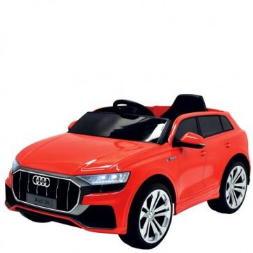 Macchina elettrica per bambini Audi Q8 12V con telecomando e sedile in ecopelle. Fuoristrada SUV elettrico colore rosso per bambino