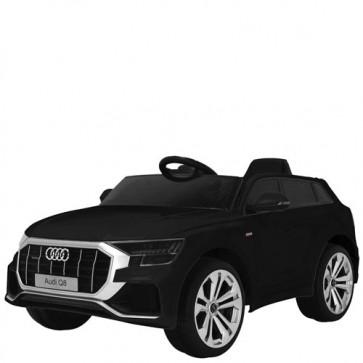 Macchina elettrica per bambini Audi Q8 12V con telecomando e sedile in ecopelle. Fuoristrada SUV elettrico colore nero per bambino