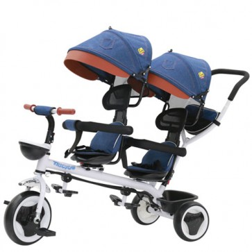 Triciclo tricygo gemellare in metallo blu per bambino con cappottine e cestino portaoggetti. Tricicli passeggino gemellari a pedal