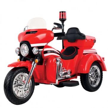 Moto elettrica polizia tre ruote per bambini con luci e sirena. Motocicletta rossa per bambino con batteria 12 volt, bluetooth, radio trasmittente e bauletto.