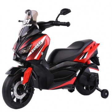 Scooter elettrico City Runner rosso per bambini con batteria 6 volt, moto elettrica per bambino con rotelle, Mp3 e funzione di retromarcia.