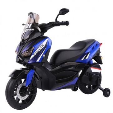 Scooter elettrico City Runner blu per bambini con batteria 6 volt, moto elettrica per bambino con rotelle, Mp3 e funzione di retromarcia.