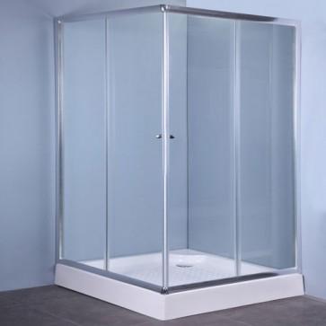 Box doccia angolare linea IGLO4 altezza 185 cm, cabina doccia bagno con cristallo trasparente 4 mm e profilo in alluminio.