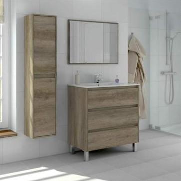 Colonna sospesa per mobile bagno Dakota. Armadietto in legno per mobili Fores con due ante e quattro ripiani in rovere